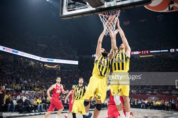 Luigi Datome #70 of Fenerbahce Istanbul and Bogdan Bogdanovic #13 of Fenerbahce Istanbul in action during the Championship Game 2017 Turkish Airlines...