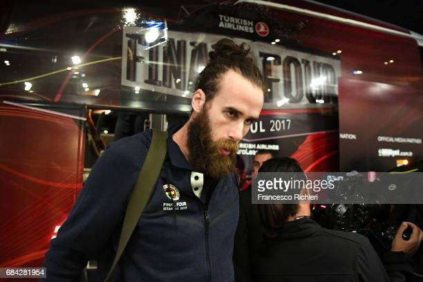 Luigi Datome #70 of Fenerbahce Istanbul arriving to the 2017 Turkish Airlines EuroLeague Final Four at Renaissance Polat Istanbul Hotel on May 17...