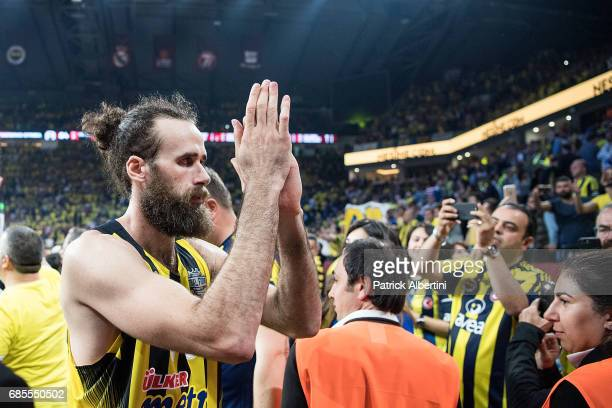 Luigi Datome #70 of Fenerbahce Istanbul at the end of the Turkish Airlines EuroLeague Final Four Semifinal A game between Fenerbahce Istanbul v Real...