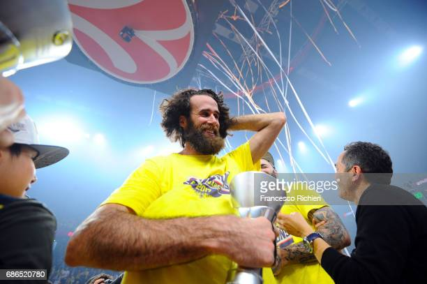 Luigi Datome #70 of Fenerbahce Istanbul celebrates during the 2017 Final Four Istanbul Turkish Airlines EuroLeague Champion Trophy Ceremony at Sinan...