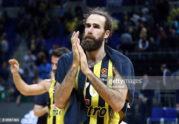 Luigi Datome #70 of Fenerbahce Istanbul celebrates victory during the 2016/2017 Turkish Airlines EuroLeague Regular Season Round 3 game between...