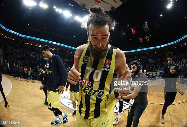 Luigi Datome #70 of Fenerbahce Istanbul celebrates victory during the 2016/2017 Turkish Airlines EuroLeague Regular Season Round 18 game between...