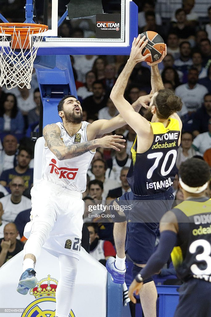 <a gi-track='captionPersonalityLinkClicked' href=/galleries/search?phrase=Luigi+Datome&family=editorial&specificpeople=5577251 ng-click='$event.stopPropagation()'>Luigi Datome</a>, #70 of Fenerbahce Istanbul competes with <a gi-track='captionPersonalityLinkClicked' href=/galleries/search?phrase=Augusto+Cesar+Lima&family=editorial&specificpeople=5653972 ng-click='$event.stopPropagation()'>Augusto Cesar Lima</a>, #22 of Real Madrid during the 2015-2016 Turkish Airlines Euroleague Basketball Playoffs Game 3 between Real Madrid v Fenerbahce Istanbul at Barclaycard Center on April 19, 2016 in Madrid, Spain.
