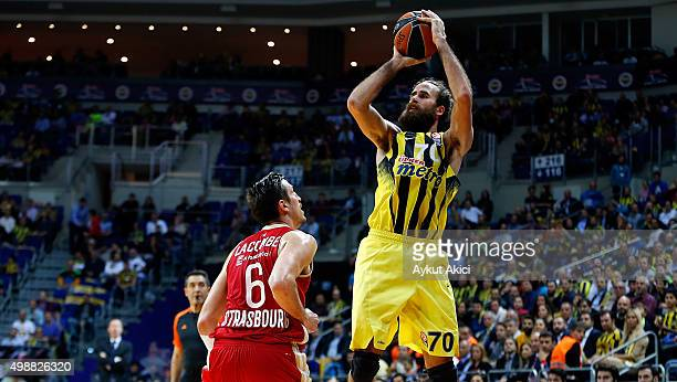 Luigi Datome #70 of Fenerbahce Istanbul competes with Paul Lacombe #6 of Strasbourg during the Turkish Airlines Euroleague Regular Season Round 7...