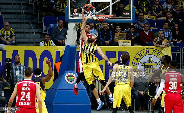 Luigi Datome #70 of Fenerbahce Istanbul competes with Tarence Kinsey #1 of Crvena Zvezda Telekom Belgrade in action during the 20152016 Turkish...