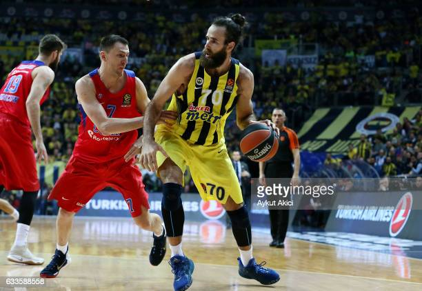 Luigi Datome #70 of Fenerbahce Istanbul competes with Vitaly Fridzon #7 of CSKA Moscow in action during the 2016/2017 Turkish Airlines EuroLeague...