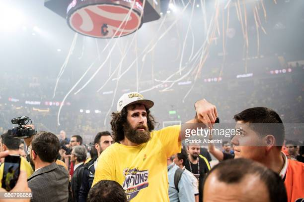 Luigi Datome #70 of Fenerbahce Istanbul during the 2017 Final Four Istanbul Turkish Airlines EuroLeague Champion Trophy Ceremony at Sinan Erdem Dome...