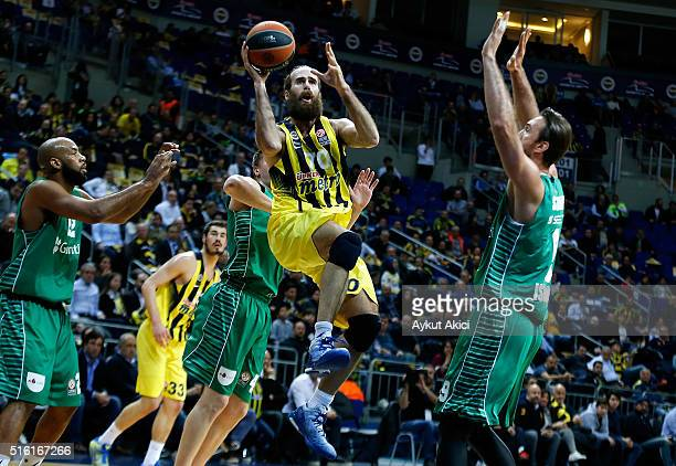 Luigi Datome #70 of Fenerbahce Istanbul in action during the 20152016 Turkish Airlines Euroleague Basketball Top 16 Round 11 game between Fenerbahce...