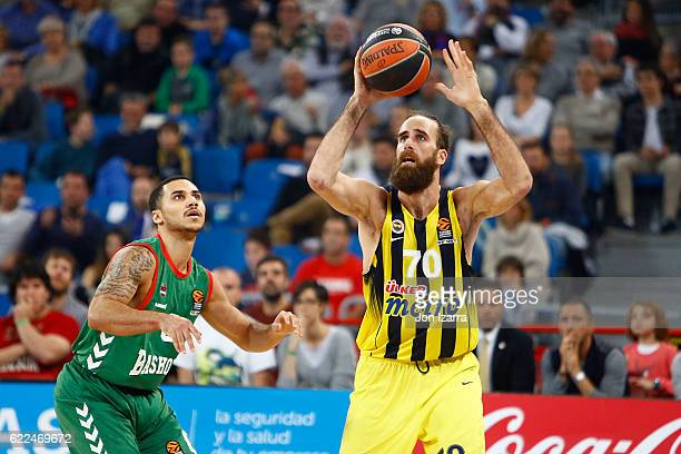 Luigi Datome #70 of Fenerbahce Istanbul in action during the 2016/2017 Turkish Airlines EuroLeague Regular Season Round 6 game between Baskonia...