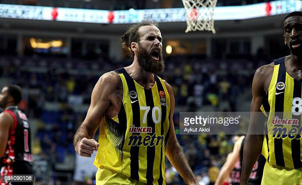 Luigi Datome #70 of Fenerbahce Istanbul in action during the 2016/2017 Turkish Airlines EuroLeague Regular Season Round 16 game between Fenerbahce...