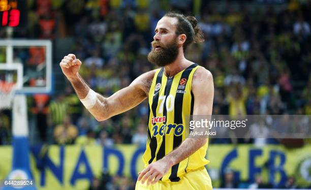 Luigi Datome #70 of Fenerbahce Istanbul in action during the 2016/2017 Turkish Airlines EuroLeague Regular Season Round 23 game between Fenerbahce...