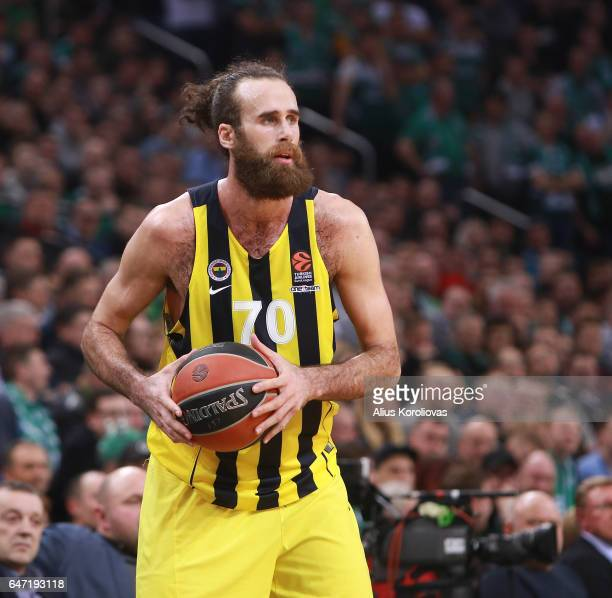 Luigi Datome #70 of Fenerbahce Istanbul in action during the 2016/2017 Turkish Airlines EuroLeague Regular Season Round 24 game between Zalgiris...