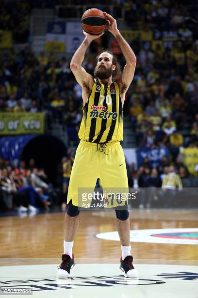 Luigi Datome #70 of Fenerbahce Istanbul in action during the 2016/2017 Turkish Airlines EuroLeague Regular Season Round 25 game between Fenerbahce...