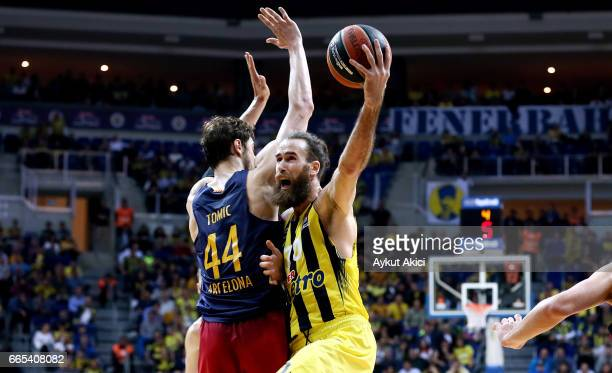 Luigi Datome #70 of Fenerbahce Istanbul in action during the 2016/2017 Turkish Airlines EuroLeague Regular Season Round 30 game between Fenerbahce...
