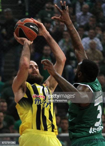 Luigi Datome #70 of Fenerbahce Istanbul in action during the 2016/2017 Turkish Airlines EuroLeague Playoffs leg 2 game between Panathinaikos...