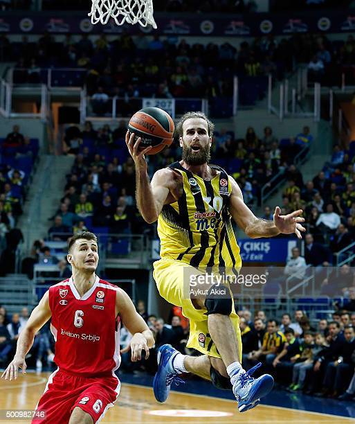 Luigi Datome #70 of Fenerbahce Istanbul in action during the Turkish Airlines Euroleague Basketball Regular Season Round 9 game between Fenerbahce...