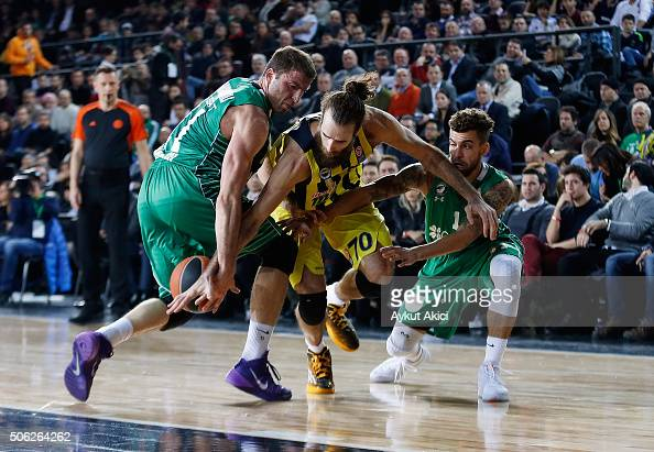 Luigi Datome #70 of Fenerbahce Istanbul in action during the Turkish Airlines Euroleague Basketball Top 16 Round 4 game between Darussafaka Dogus...