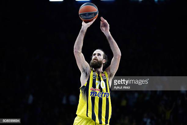 Luigi Datome #70 of Fenerbahce Istanbul in action during the Turkish Airlines Euroleague Basketball Top 16 Round 6 game between Anadolu Efes Istanbul...