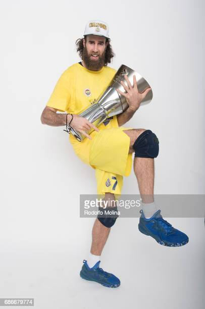 Luigi Datome #70 of Fenerbahce Istanbul pose with Trophy during Turkish Airlines EuroLeague Basketball Final Four istanbul 2017 Champion Photo...