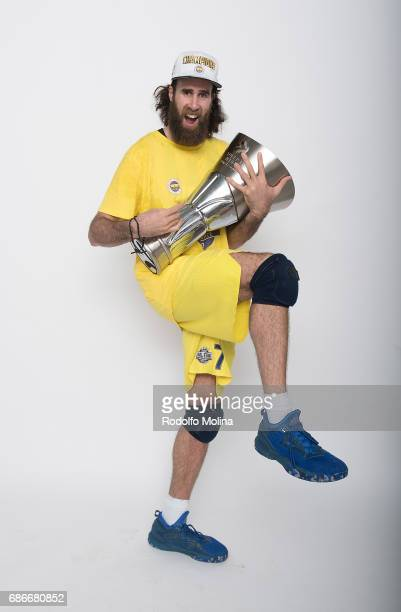Luigi Datome #70 of Fenerbahce Istanbul pose with Trophy duringTurkish Airlines EuroLeague Basketball Final Four istanbul 2017 Champion Photo Session...