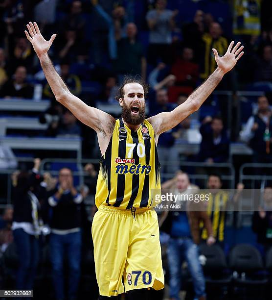 Luigi Datome #70 of Fenerbahce Istanbul reacts during the Turkish Airlines Euroleague Basketball Top 16 Round 1 game between Fenerbahce Istanbul v...