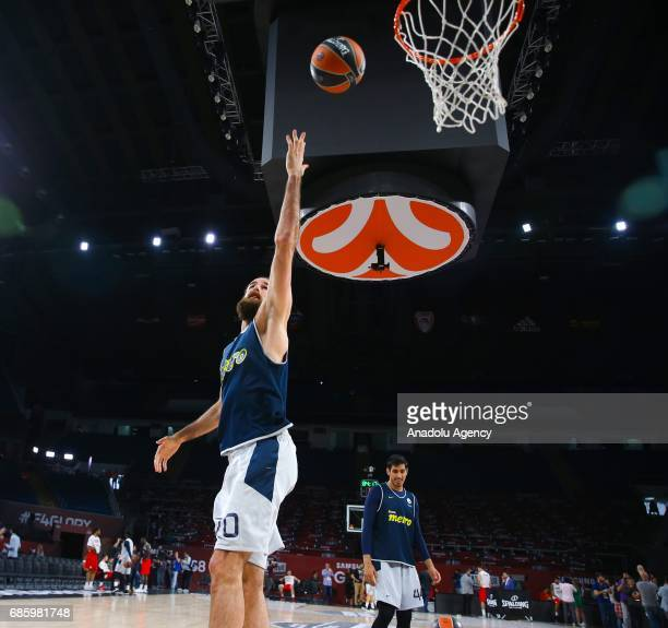 Luigi Datome of Fenerbahce attends a training session ahead of the Turkish Airlines Euroleague Final Four final match between Fenerbahce and...