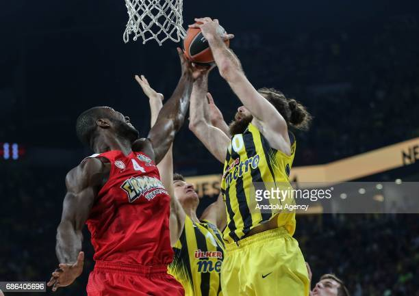 Luigi Datome of Fenerbahce in action against Patric Young of Olympiacos during the Turkish Airlines Euroleague Final Four basketball final match...