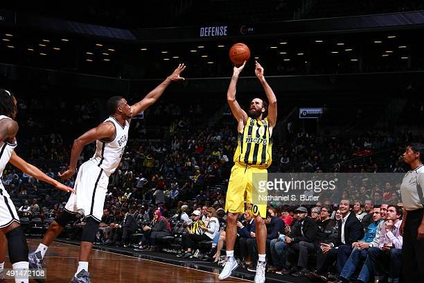 Luigi Datome of Fenerbahce shoots the ball against the Brooklyn Nets during a preseason game on October 5 2015 at Barclays Center in Brooklyn New...