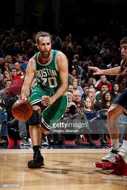 Luigi Datome of the Boston Celtics handles the ball against the Cleveland Cavaliers at The Quicken Loans Arena on March 3 2015 in Cleveland Ohio NOTE...