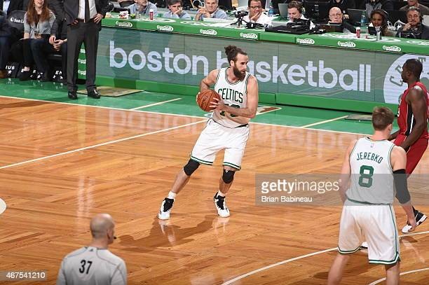 Luigi Datome of the Boston Celtics handles the ball against the Miami Heat on March 25 2015 at TD Garden in Boston Massachusetts NOTE TO USER User...