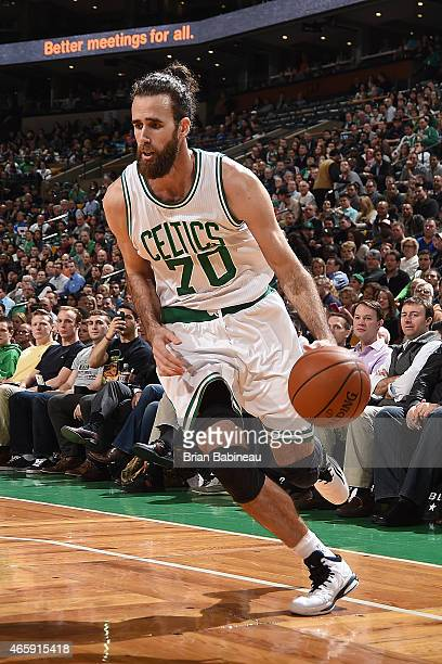 Luigi Datome of the Boston Celtics handles the ball against the Memphis Grizzlies on March 11 2015 at the TD Garden in Boston Massachusetts NOTE TO...