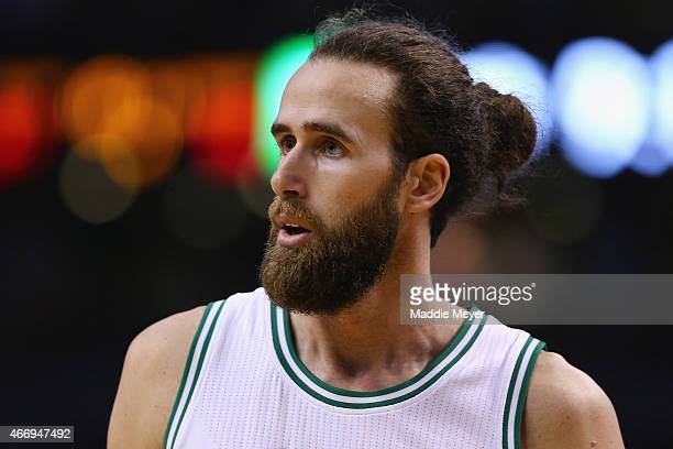 Luigi Datome of the Boston Celtics looks on during the game against the Memphis Grizzlies at TD Garden on March 11 2015 in Boston Massachusetts NOTE...