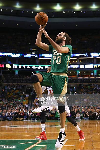 Luigi Datome of the Boston Celtics takes a shot against the Philadelphia 76ers during the fourth quarter at TD Garden on March 16 2015 in Boston...
