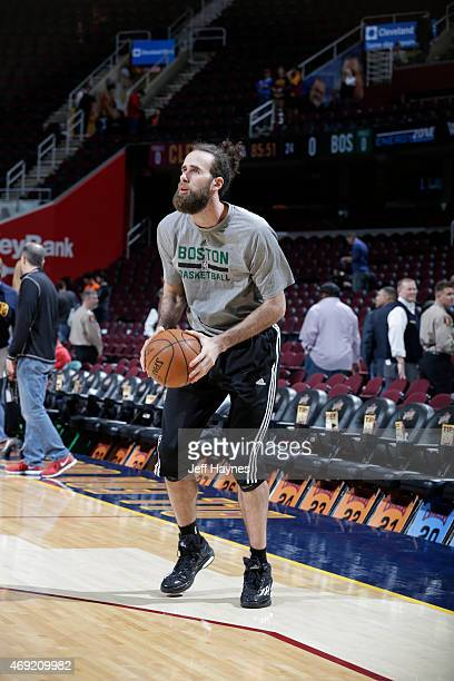 Luigi Datome of the Boston Celtics warms up before the game against the Cleveland Cavaliers on April 10 2015 at Quicken Loans Arena in Cleveland Ohio...