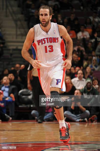 Luigi Datome of the Detroit Pistons runs up court against the New York Knicks on November 19 2013 at The Palace of Auburn Hills in Auburn Hills...