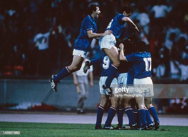 Luigi De Agostini of Italy celebrates his goal with teammates during the UEFA European Championships 1988 Group 1 match between Italy and Denmark...