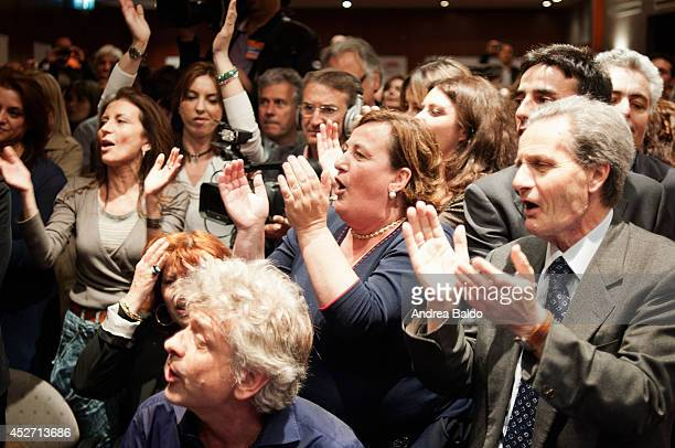 Luigi de Magistris' supporters exult as the candidate gets through the second ballot for running as mayor of Napoli