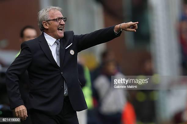 Luigi Del Neri head coach of Udinese Calcio gestures during the Serie A match between Genoa CFC and Udinese Calcio at Stadio Luigi Ferraris on...