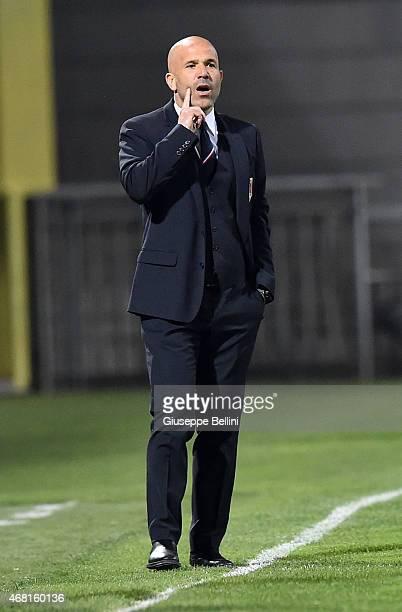 Luigi Di Biagio head coach of Italy before the international friendly match between Italy U21 and Serbia U21 at Stadio Ciro Vigorito on March 30 2015...