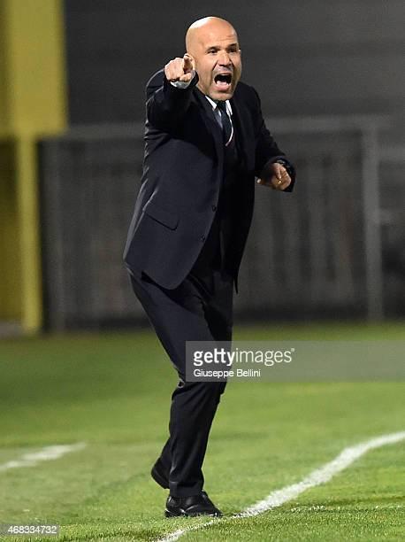 Luigi Di Biagio head coach of Italy during the international friendly match between Italy U21 and Serbia U21 at Stadio Ciro Vigorito on March 30 2015...