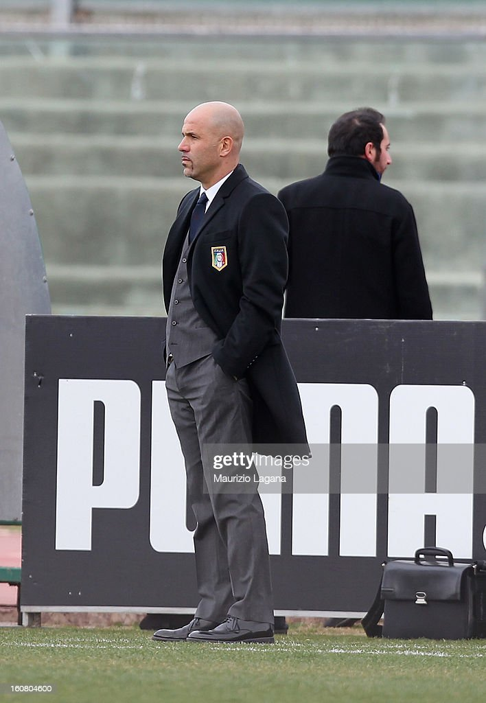 Luigi Di Biagio head coach of Italy looks on during U20 International Friendly match between Italy and Germany at Stadio Cosimo Puttilli on February 6, 2013 in Barletta, Italy.