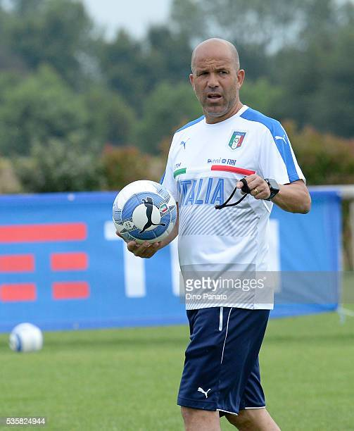 Luigi Di Biagio head coach of Italy U21 looks on during Training Session at stadio Comunale on May 30 2016 in Mestre Italy