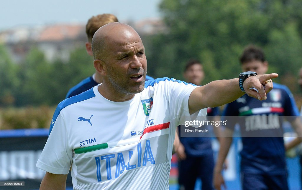 <a gi-track='captionPersonalityLinkClicked' href=/galleries/search?phrase=Luigi+Di+Biagio&family=editorial&specificpeople=2384857 ng-click='$event.stopPropagation()'>Luigi Di Biagio</a> head coach of Italy U21 looks on during Training Session at stadio Comunale on May 30, 2016 in Mestre, Italy.