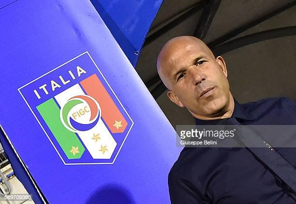 Luigi Di Biagio head coach of Italy U21 prior the international friendly match between Italy U21 and Albania U21 at Stadio Riviera delle Palme on...