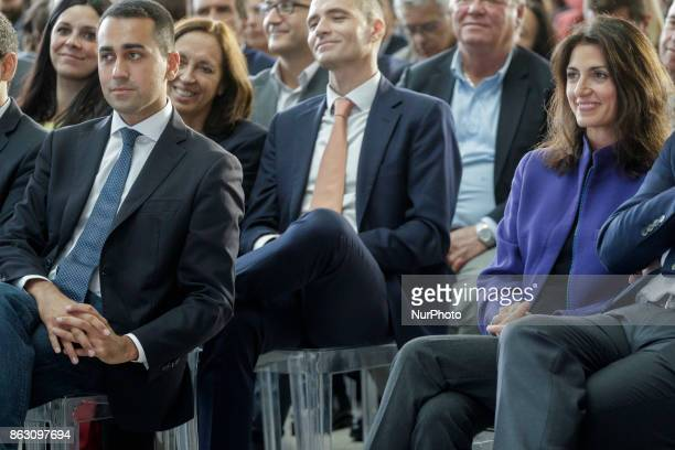 Luigi Di Maio M5S leader and Virginia Raggi Mayor of Rome attend a press conference in Rome Italy on October 19 2017 Rome will be hosting a Formula E...