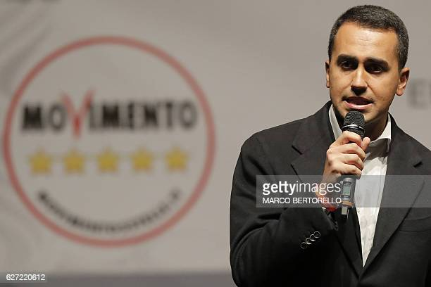 Luigi Di Maio member of the Five Star Movement delivers a speech during a campaign meeting upon a referendum on constitutional reforms on December 2...
