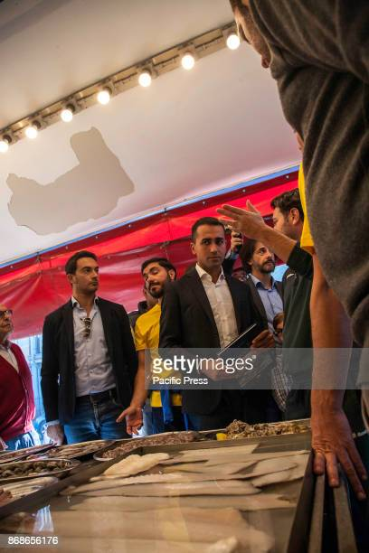Luigi Di Maio vice president of the Chamber of Deputies meets traders of marine district 'Bandita' during the Palermo Day of Five Star Movement