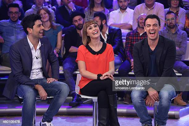 Luigi Esposito Fatima Trotta and Rosario Morra attend the 'Quelli Che Il Calcio' TV show on December 7 2014 in Milan Italy