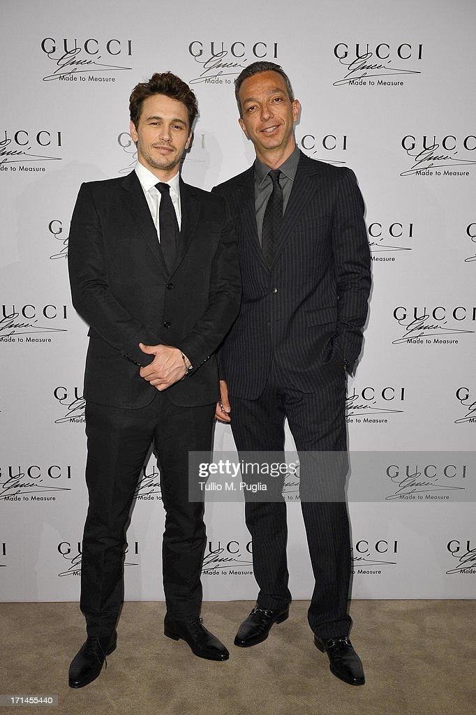 Luigi Feola and James Franco attend 'Gucci Made to Measure Launch' on June 24, 2013 in Milan, Italy.