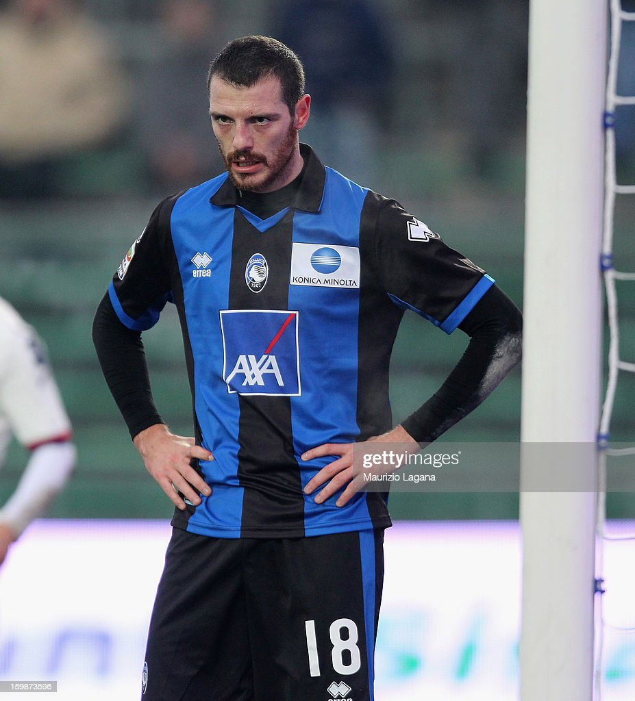 <a gi-track='captionPersonalityLinkClicked' href=/galleries/search?phrase=Luigi+Giorgi&family=editorial&specificpeople=6382314 ng-click='$event.stopPropagation()'>Luigi Giorgi</a> of Atalanta during the Serie A match between Atalanta BC and Cagliari Calcio at Stadio Atleti Azzurri d'Italia on January 20, 2013 in Bergamo, Italy.